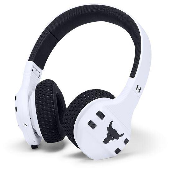 UA Sport Wireless Train Project Rock – Engineered by JBL - White - On-ear sport Headphones - Hero