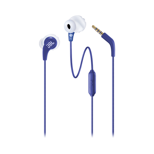 JBL Endurance RUN - Blue - Sweatproof Wired Sport In-Ear Headphones - Detailshot 1