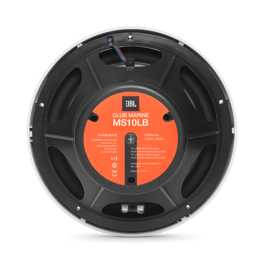 "Club Marine MS10LB - Black Matte - Club Marine MS10LB—10"" (250mm) marine audio multi-element subwoofer with RGB lighting – Black - Back"