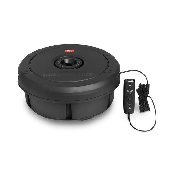 "JBL BassPro Hub - Black - 11"" (279mm) Spare tire subwoofer with built-in 200W RMS amplifier with remote control. - Detailshot 2"