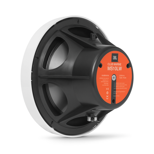 "Club Marine MS10LW - White Gloss - 10"" (250mm) marine audio subwoofer with RGB lighting – White - Detailshot 1"