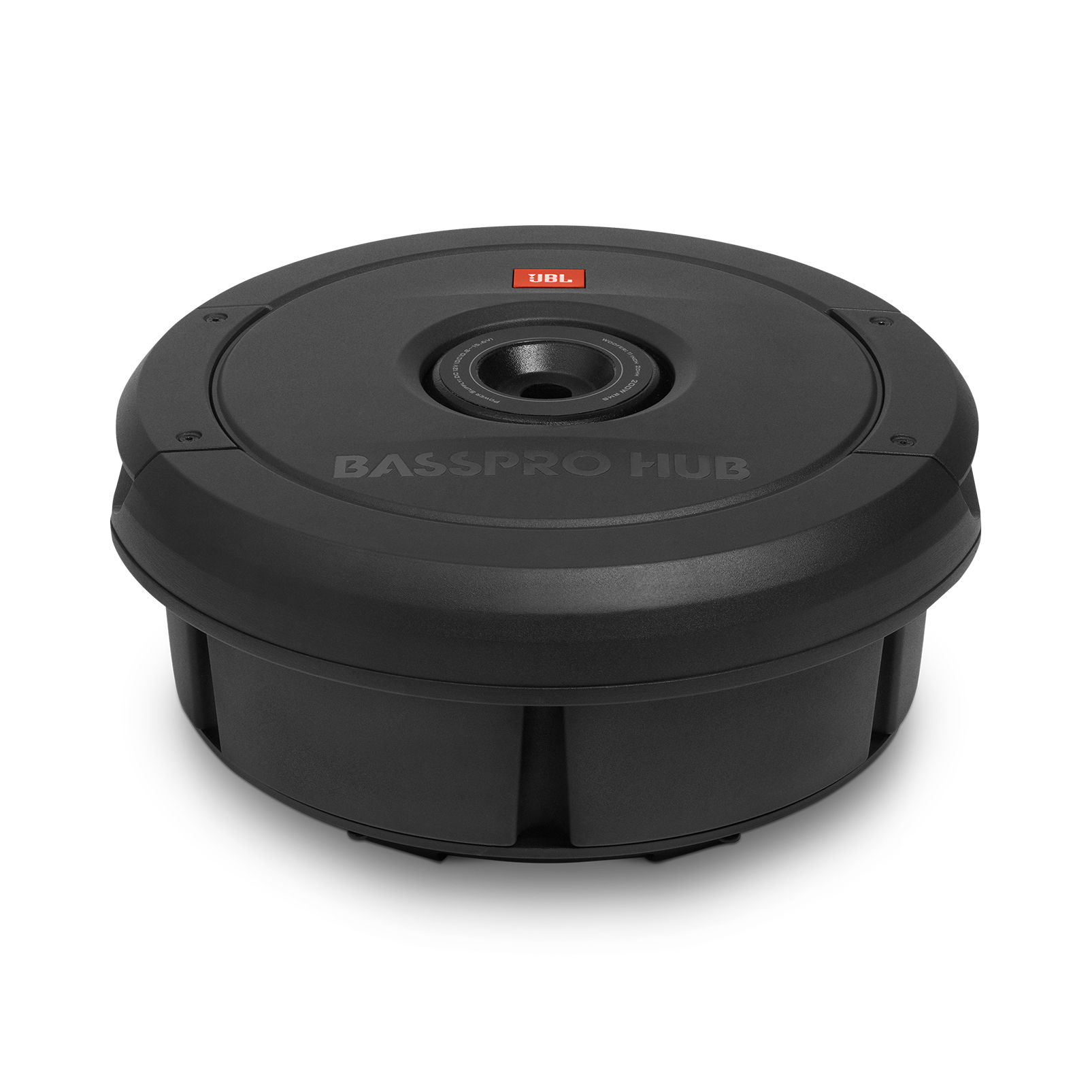 "JBL BassPro Hub - Black - 11"" (279mm) Spare tire subwoofer with built-in 200W RMS amplifier with remote control. - Detailshot 1"
