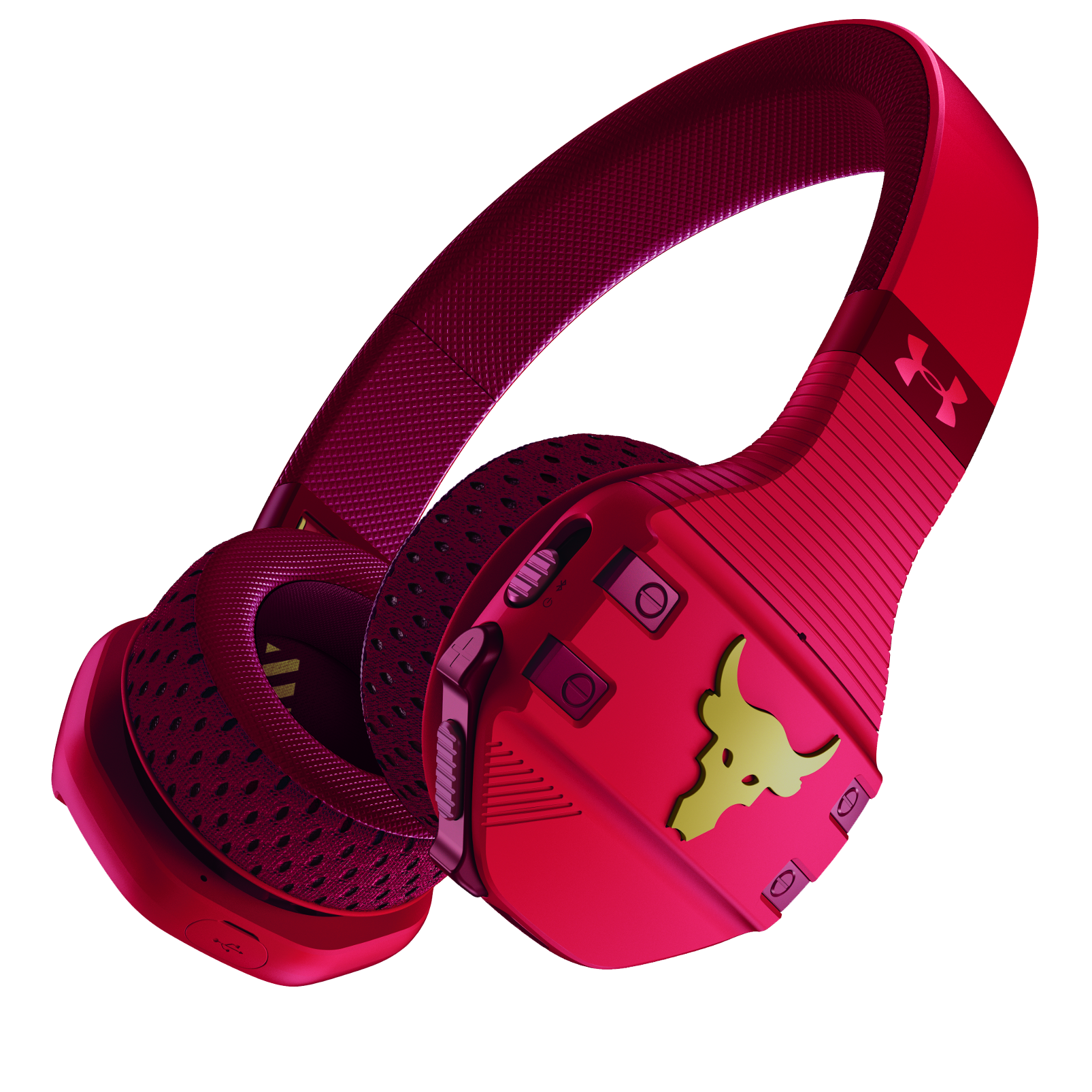 UA Sport Wireless Train Project Rock – Engineered by JBL - Red - On-ear sport Headphones - Hero